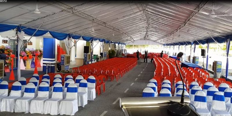 #eventlaunching #outdoorevent #11unit40ftx20ftpyramid #34unitaircooler #tables&chairs #ribboncutting #stage&backdrop #eventsuppliespenang